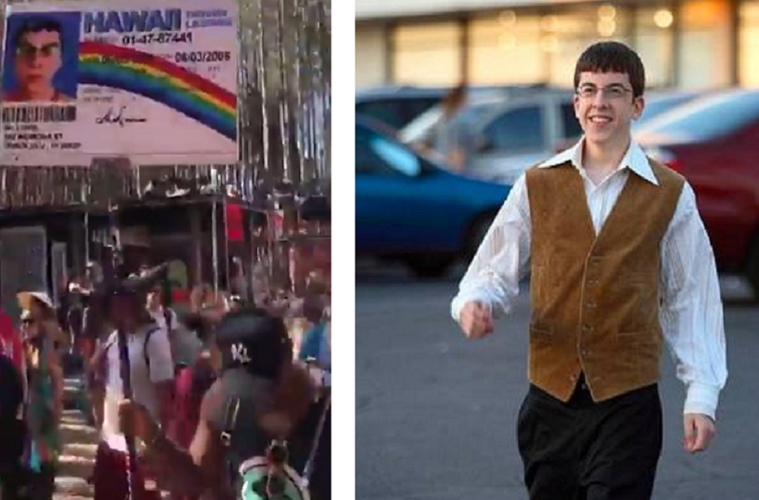 Man He Him Holding Freaks Poster Standing Actually Realizes He's Mclovin When Next