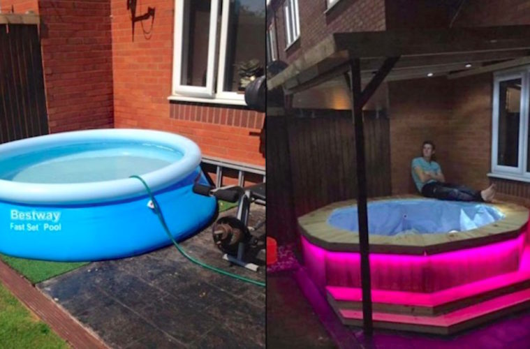 Man Builds Awesome Hot Tub Out Of An Old Trampoline And A Plastic Pool